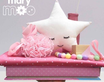 Pink OR White Sleepy Star Pillow / Cushion - Nursery and Children's Decor