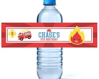 Firefighter Birthday Water Bottle Labels - Birthday Water Bottle Label - Personalized Water Bottle - Fire Truck Birthday