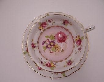 1930s Copelands Grosvenor English Bone China Teacup Pink Rose English Teacup and Saucer English Tea cup