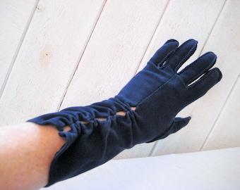 Decorative navy blue gloves, formal evening gloves, mid length, opera gloves, Crescendoe gloves, size 6.5 to 7, stretch gloves, mid century