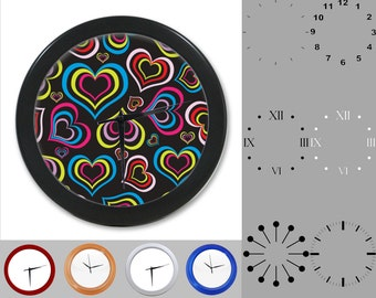 Colorful Heart Wall Clock, Abstract Love Design, Valentine's Day, Customizable Clock, Round Wall Clock, Your Choice Clock Face or Clock Dial