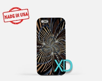 Metal Flower iPhone Case, Striped iPhone Case, Flower iPhone 8 Case, iPhone 6s Case, iPhone 7 Case, Phone Case, iPhone X Case, SE Case