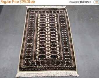 YEAR END CLEARANCE 1980s Vintage, Hand-Knotted, Bokara Rug (3524)
