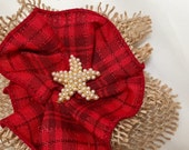 Red Fabric Flower Brooch, Red Plaid Magnetic Pin,  Red Magnetic Brooch, Starfish Scarf Pin