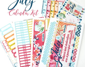 "July 2017 CALENDAR PAGES Kit, ""Dreams and Dedication"" July planner stickers kit fits Erin Condren Life Planners, Monthly Calendar Stickers"