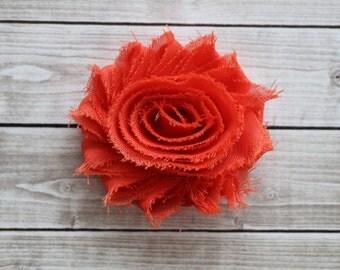 Burnt orange chic rosette hair clip frayed chiffon flower clip