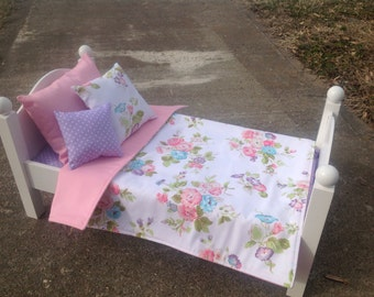 """Doll Bedding Set, 18"""" Doll Bedding, 18"""" doll accessories, doll bed set"""