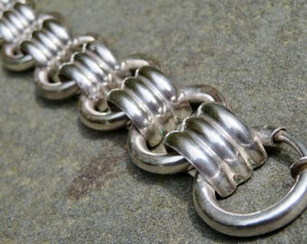 Vintage Taxco Silver Link Bracelet, Los Castillo Sterling Bracelet, Chunky Silver Jewelry, Mexican Silver Jewelry, Chunky Silver Bracelet
