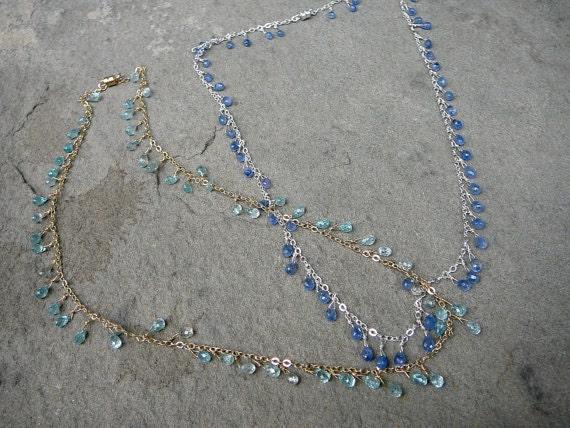 Blue Zircon Necklace, Blue Sapphire Briolette Necklace, Delicate Necklace, Briolette Beads, Blue Zircon Jewelry, Zircon Beads, Blue Gems