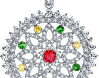 Elizabethan Diamond CZ Pendant Multi Stone
