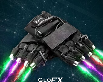 GloFX LZR Laser Gloves – Multi-Color – 4 High-Powered Laser Beams LED Palm Lights Rechargeable Batteries Adults Boys Girls