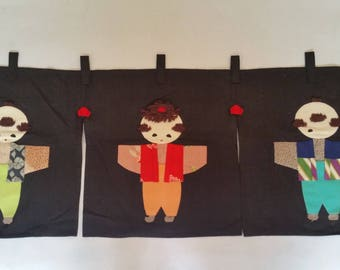 Japanese Valence Vintage Children Traditional Asian Clothing Textile Wall Hanging 3 Panels  Made in Japan 1970s