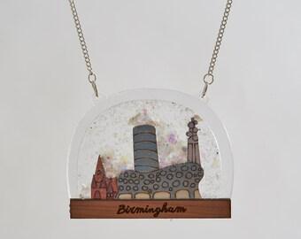 Birmimgham Snow Globe Necklace - Birmingham landmarks - Birmingham necklace - architecture - Brummie - skyline - snow globe jewellery