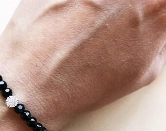 Black beaded bracelet, CZ diamond charm, Elastic beaded bracelet
