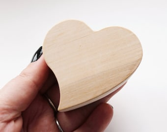 Heart-box unfinished wooden - with cover - natural, eco friendly