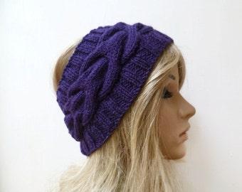 Wool Alpaca Cabled Headband - Purple Wool Alpaca Hand Knitted Ear Warmer - Women  Braided Headband - Eco Friendly - Clickclackknits