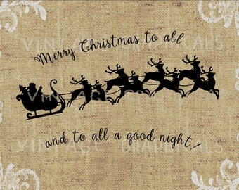 Christmas Santa sleigh Reindeer instant clip art Digital download image for iron on fabric transfer Burlap Decoupage Pillow Cards No. gt855