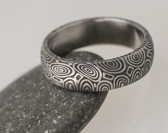 Simple DAMASCUS steel Wedding Band, HANDMADE unique Womens, Mens Band, Custom band, Wedding ring, love ring, ring for him, for her - Prima