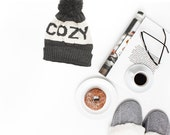 FALL Cozy Hat© - Gifts For Her, Grey Fall Hat, Winter Hat, Grey Hat, Cutest Cozy Hat Ever