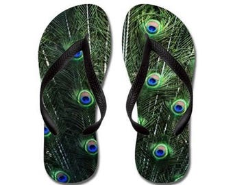Flip Flops - Peacock Spray, Colorful Feathers, Nature Photography - RDelean
