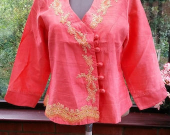 slub silk jacket/blouse top all lined large size ajustable embroidered wrap over front 40inch bust- 24inch length