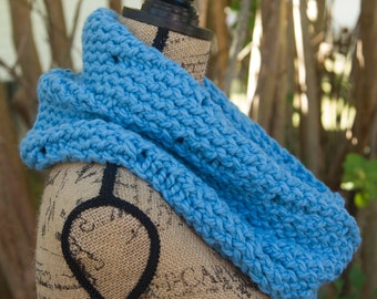 ONE IN STOCK - Ready to Ship! / Knit Cowl in Light Blue - Wool Blend