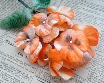 Vintage Velvet Millinery Pansy Flowers - Orange Pansies - Fabric Leaves, Wire Stem - Hat Making, Corsage Supplies, Habdashery - Japan