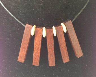 Mulga timber necklace with bone bead