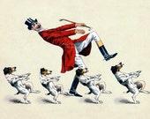 Fox Hunter Fabric Block - Foxhounds Dance - Dogs and Man Dancing - Equestrian Hunt