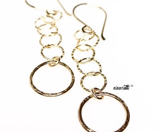Dangling Gold Circle Earrings / Long Bohemian Earrings / Gold Jewelry Gifts for Her / Classic Dangle Earrings / Long 14k Gold Filled Earring