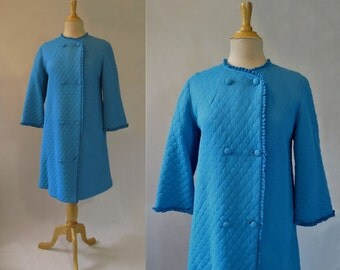 Blue Quilted Dressing Gown - 1960s