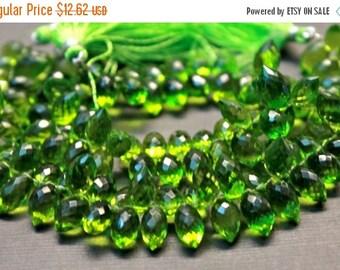Sale AAA Peridot green quartz gemstone briolette- faceted peridot green quartz dew drop briolette- set of 10 PCs- 11.5-13 mm No.436