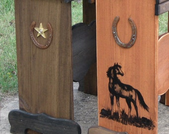 Custom Designed Saddle Stand -wood saddle rack with horse image and horse shoe. TO BE MADE to client's specs.