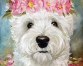 PRINT Westie West Highland Terrier Dog Puppy Art Gerbera Daisies / Mary Sparrow of Hanging the Moon Studio