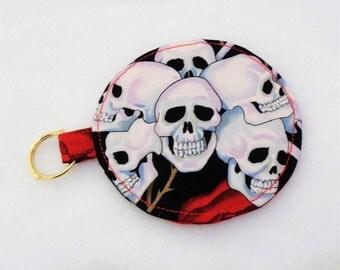 Rose and Skulls Design Ear Bud Pouch - Ear Bud Holder - Ear Bud Purse - Headphone Holder - Headphone Case - Goth Gift - Earbuds Protector