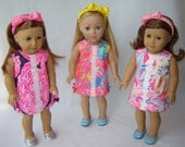 """NEW LILLY PRINTS - American Doll Authentic Lilly Pulitzer® Shift Dress - 18"""" Doll Lilly Dress - American Doll Clothes - 2017 Current Prints"""