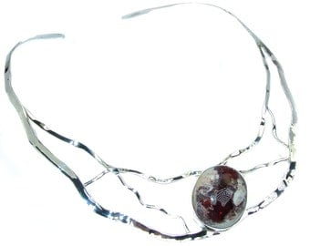 Mexican Fire Agate Sterling Silver Necklace - weight 43.10g - dim 1 1 4 inch - code 11-paz-16-60