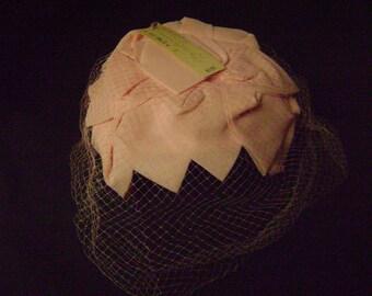 Ladies Hat, Never Worn, Vintage Pink Netting and Petal , Original Price Tag,