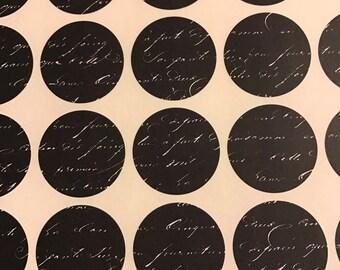 30pcs Black Circle Stickers - Invitation Seals - Wedding Invite Stickers