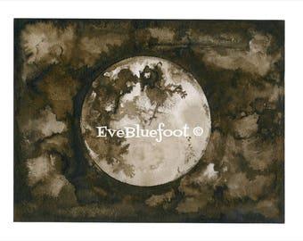 Full Moon Art Print, Dark Art. Fine Art Print, Moon Painting, Goth Print, Gothic Surrealism, Sepia Ink Watercolors, Moon Illustration