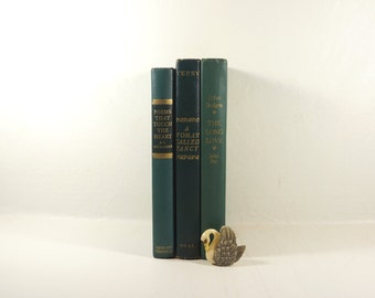 Green Mid-Century Books  - Home Decor - Office Decor - Green and Gold