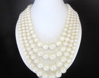 Multistrand Faux Pearl Necklace Winter White Adjustable Size Mid Century
