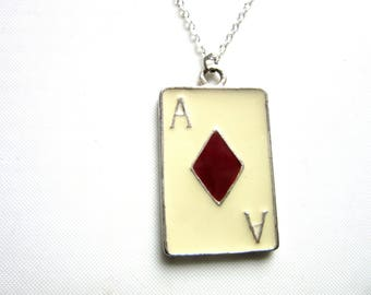 Gaming Necklace Ace of Diamonds Enamel Pendant Poker Card Gamer Jewelry Silver 925 Chain 18 – 20 Inches