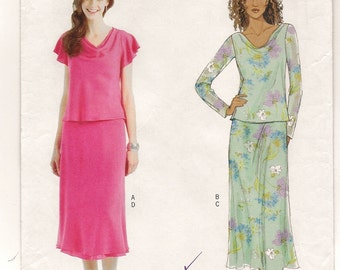 An Easy Sew Cowl Front, Flutter/Long Sleeve Top & Pull-On Flared Skirt Sewing Pattern for Women: Uncut - Sizes 8-10-12-14 ~ Butterick 4511