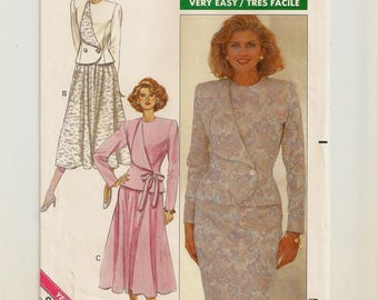 "An Asymmetric Lapel, Semi-Fitted Top, and Straight & Flared Skirt Pattern for Women: Uncut- Sizes 12-14-16 Bust 34"" to 38"" • Butterick 4459"
