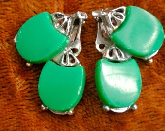 Vintage earrings- Bright green/silver clip on 1960s statement jewellery
