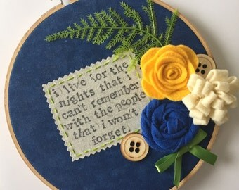 "Embroidery Hoop / Drake ""Show Me a Good Time"" Lyrics"