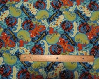 Blue Gecko/Lizard  Flannel Fabric by the Yard