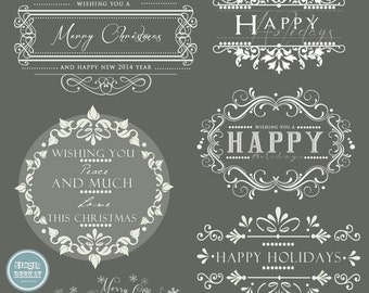 ON SALE INSTANT Download - Holidays. Christmas Overlays, Words Overlays vol.1