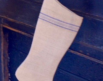 Authentic Vintage European Grain Sack Blue Stripe Stocking